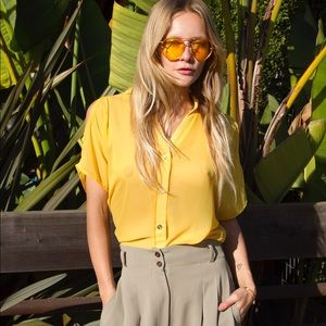 Tops - Cold shoulder bright yellow blouse